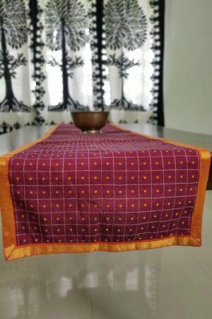 Wine maroon kanchi cotton table runner
