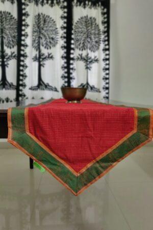 Red kanchi cotton table runner