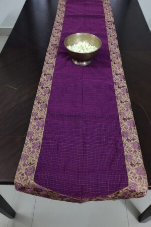 Violet table runner with embroidered border 1