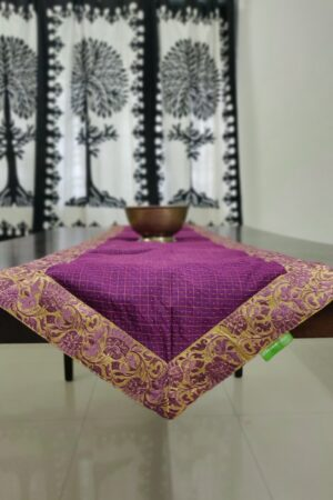 Violet table runner with embroidered border