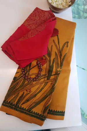 Mustard kalamkari saree with tulip design