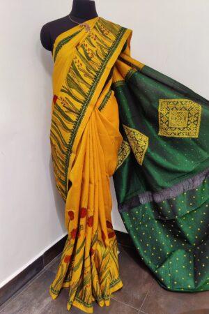 Mustard kalamkari saree with tulip design3