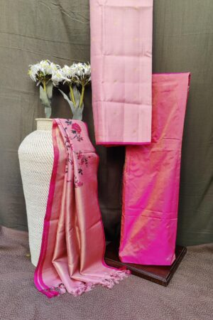 dusty pink bavanji border printed silk dupatta set