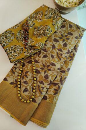 beige with mustarD border kalamkari design