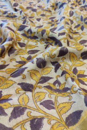 beige with mustarf border kalamkari design1