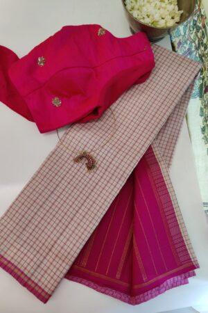 beige with pink checked kanchipuram silk saree
