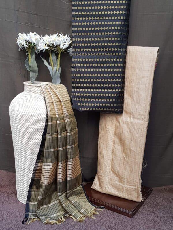 black and beige silk set