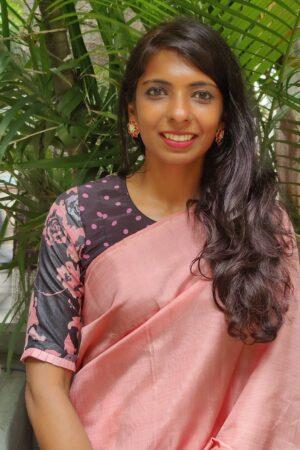 black and pink printed tussar blouse2