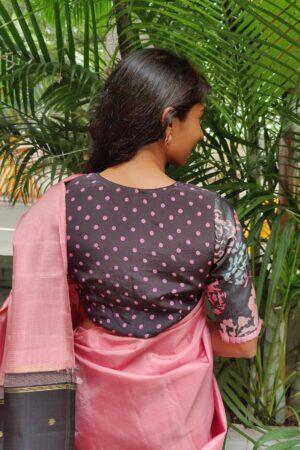 black and pink printed tussar blouse3