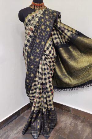 black and white checks with black border kanchi silk saree1