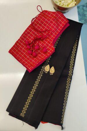 black dhaka stripes kanchi silk saree