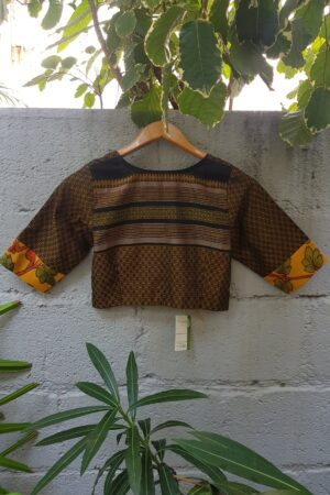 black with mustard kanchi cotton blouse