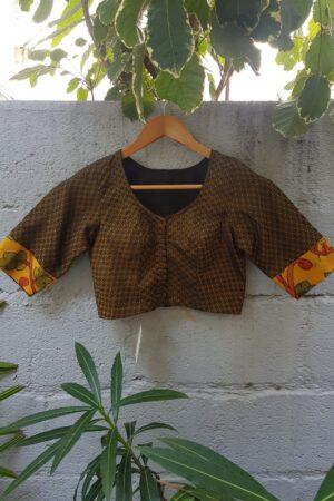 black with mustard kanchi cotton blouse1