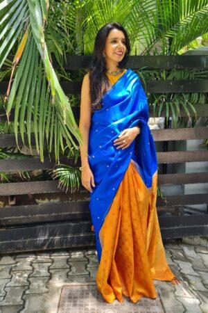 blue and mustard partly pallu kanchipuram silk saree