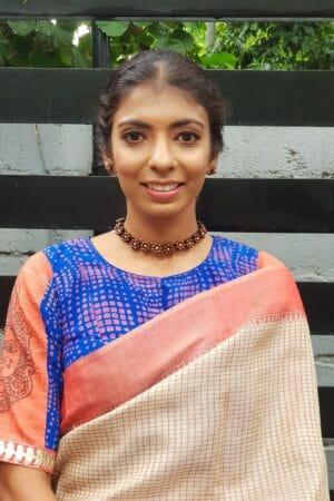 blue and orange crepe blouse