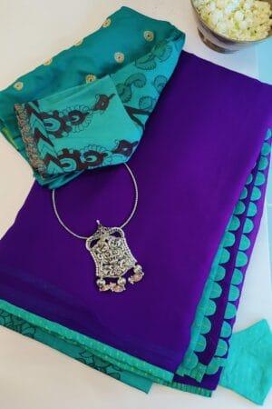 blue shot violet chiffon saree with teal silk border