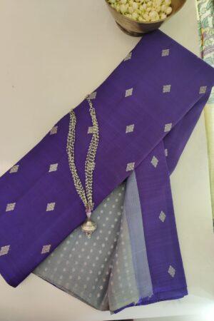 bluish violet with grey pallu