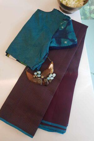 brown rising border kanchi silk saree