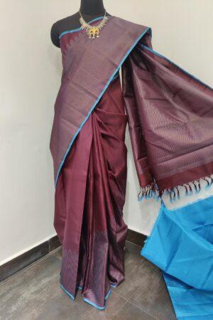 brown rising border kanchi silk saree1