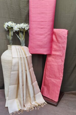 cream and pink silk set