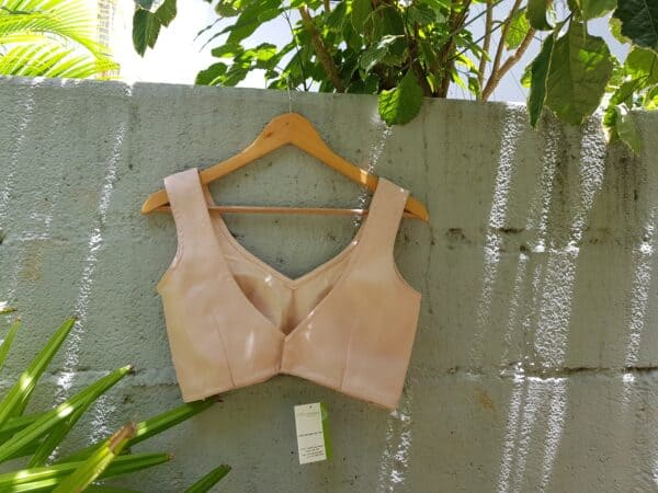 flesh pink sleeveless blouse in organza1