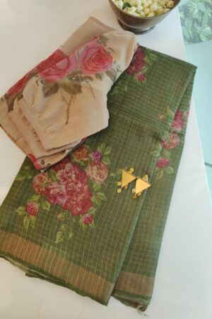 green with zari border and floral print