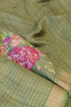 green with zari border and floral print1
