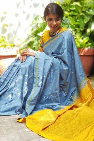 grey and yellow kutch work saree2