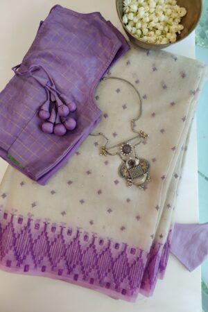 grey with purple organza saree iwth kutch work