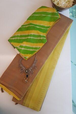 kakhi and yellow partly pallu kanchi silk saree