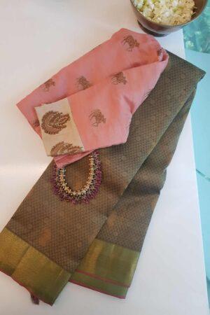 khakhi kanchipuram silk saree
