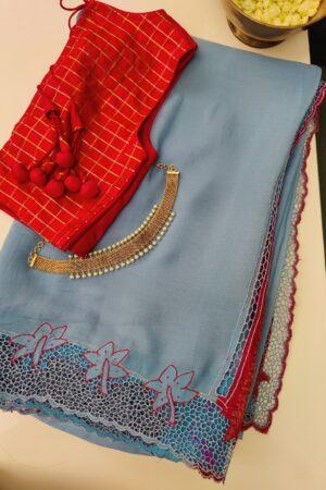 light blue chiffon with pink pallu2
