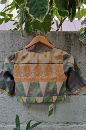 mustard grey and green printed and kutch work blouse