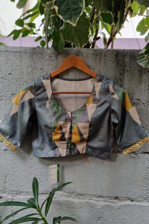 mustard grey and green printed and kutch work blouse1