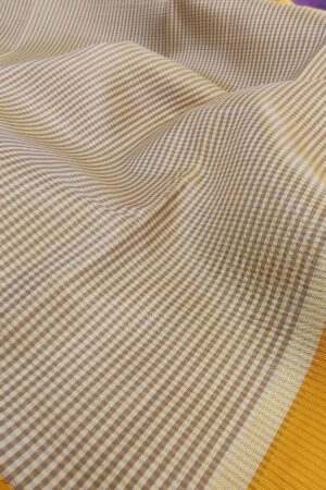 off white and beige checks with mustard korvai border1