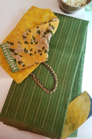 olive green hand woven tussar saree