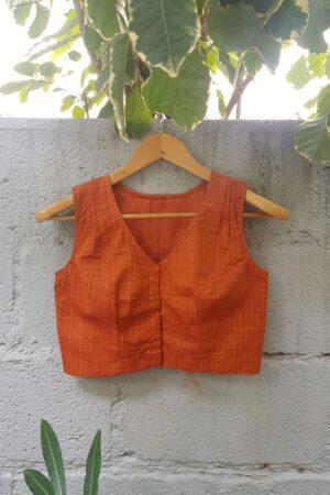 orange sleeveless kanchi cotton blouse1