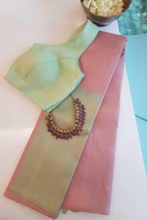 pink and green box type kanchi silk saree