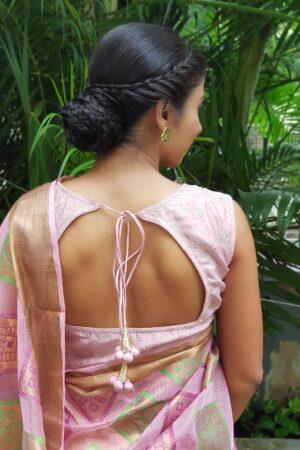 pink chanderi sleevesless blouse