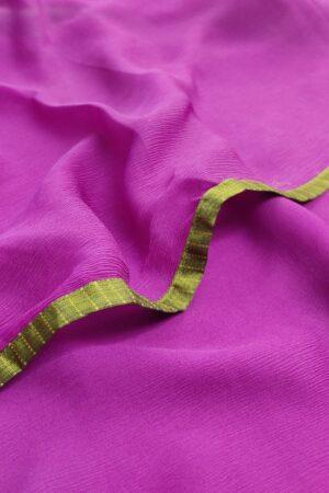 pink chiffon saree with green silk border2