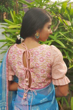 pink puff sleeve chanderi blouse1