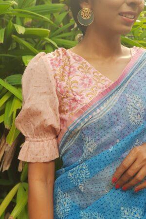 pink puff sleeve chanderi blouse2