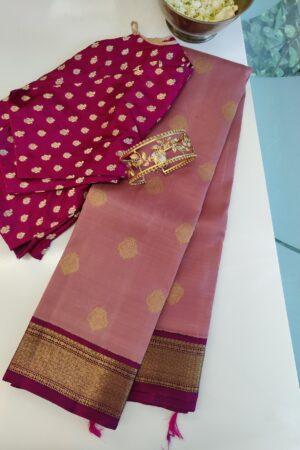 pink with dark pink korvai kanchipuram silk saree