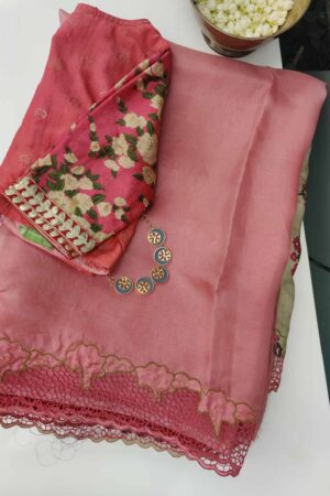 pink with green tussar pallu