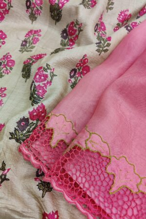 pink with green tussar pallu1
