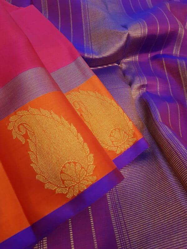 pink with orange border mango butta saree