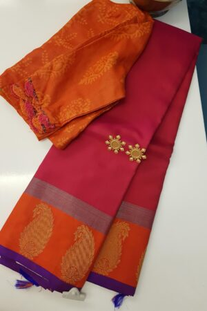 pink with orange border mango butta saree3