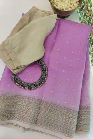 purple and beige organza saree with kutch work