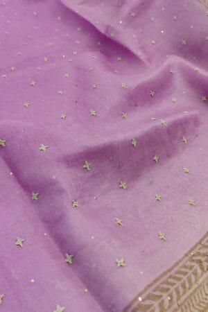 purple and beige organza saree with kutch work1