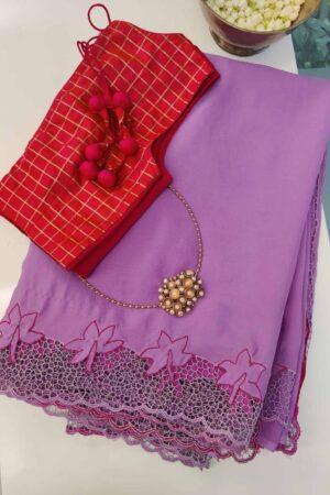 purple chiffon with pink pallu